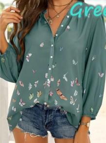 Blusa de manga comprida com decote em V solto com estampa de borboleta verde verão