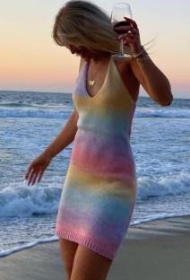 Summer Rainbow Knitting Halter Mini Dress