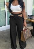 Calças soltas de cintura alta com cintura alta para verão preto