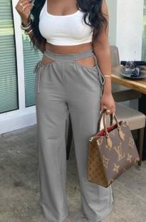 Pantalon ample taille haute évidé été gris