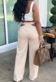 Calças largas de cintura alta para verão bege oco