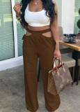 Calças folgadas de cintura alta com chocorate de verão oco
