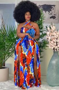 Summer Plus Size Print Side Slit Halter Long Maxi Dress