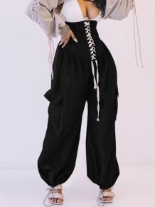 Pantalon boho noir à lacets taille haute Summer Street Style