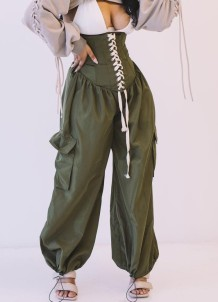 Pantalon boho vert à lacets taille haute Summer Street Style