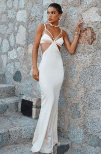 Summer White Hollow Out Strap Long Evening Dress