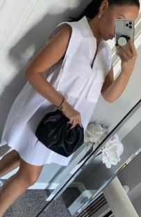 Robe chemisier courte sans manches blanche d'été