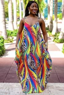 Летнее длинное платье макси с леопардовым принтом на бретелях