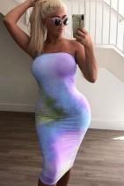 Summer Tie Dye Purple Sexy Tube Bodycon Dress