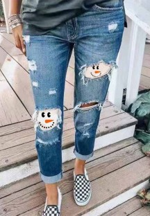 Summer Blue Patch Ripped Regular Jeans