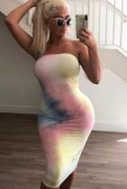 Summer Tie Dye Pink Sexy Tube Bodycon Dress