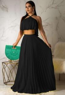 Ensemble assorti haut court plissé licou et jupe longue d'été noir