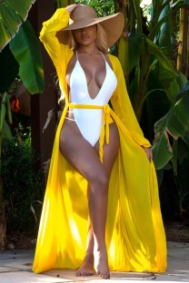 Summer Yellow Long Cover-Up with Full Sleeves
