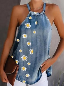 Summer Floral Blue Denim Halter Vest