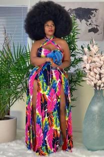 Летнее длинное платье макси с принтом больших размеров с разрезом по бокам и холтером