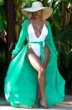 Cobertura longa verde verão com mangas compridas
