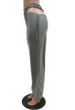 Calças soltas de cintura alta cinza verão oco