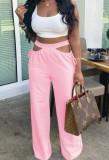 Calças largas de cintura alta com cintura alta e rosa verão oco