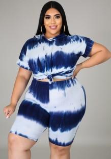 Summer Plus Size Tie Dye Blue Hoody Shirt and Shorts Conjunto de 2 piezas