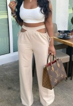Summer Beige Hollow Out Hohe Hose mit hoher Taille