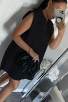 Vestido Blusa Curto Preto Sem Mangas De Verão