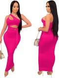 Ensemble de fête d'été rose court à une épaule et jupe longue taille haute