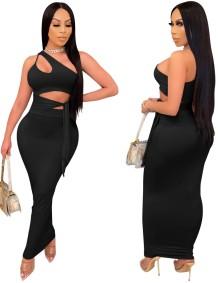 Conjunto de fiesta de falda larga de cintura alta y top corto de un hombro negro de verano