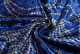 Abito da sera a sirena con fessura a mezza manica stampata blu estivo