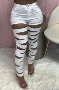 Summer White Hollow Out High Waist Tight Trousers