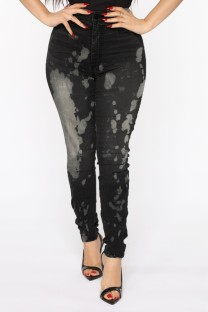 Summer Black Distressed Jeans mit hoher Taille