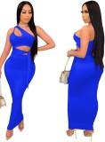 Ensemble de fête d'été bleu à une épaule et jupe longue taille haute