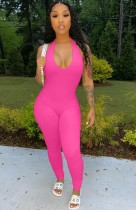 Sommer Pink Halfter Sexy Bodycon Jumpsuit