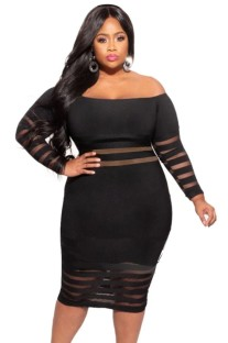 Летнее черное облегающее платье в полоску с открытыми плечами и рукавами больших размеров