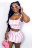 Summer Print Pink Strap Crop Top and Mini Skirt Matching 2PC Set