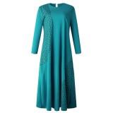 Patch d'été à manches longues Abaya Robe longue musulmane