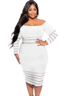 Vestido ajustado de rayas blancas con hombros descubiertos y mangas de verano de talla grande