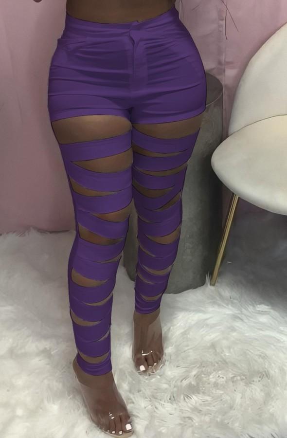 Calças justas de cintura alta para verão roxo oco