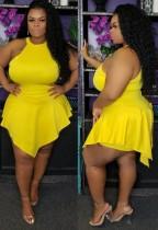 夏のプラスサイズの黄色のノースリーブの不規則なロンパースドレス