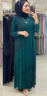 Bata larga musulmana Abaya de manga larga con parche de verano