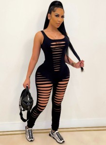 Summer Black Sleeveless Sexy Ripped Bodycon Jumpsuit