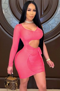 Summer Pink Hollow Out Mini Bodycon Dress with Single Sleeve