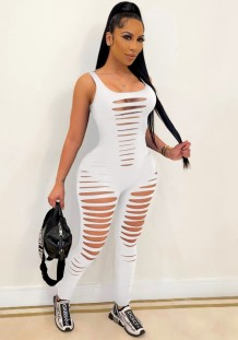Summer White Sleeveless Sexy Ripped Bodycon Jumpsuit
