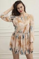 Vestido casual de verão com alça de tintura de manga comprida