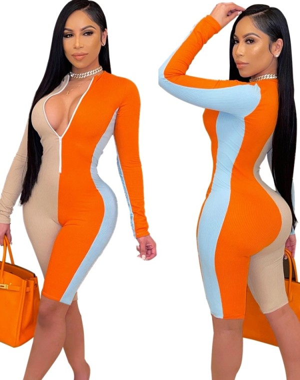 Spring Block Color Long Sleeve Ribbed Zipper Bodycon Rompers