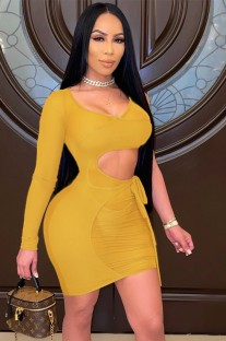 Yaz Sarı Tek Kollu Mini Bodycon Elbise Oymak