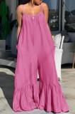 Monos de campana con correa rosa casual de verano de talla grande