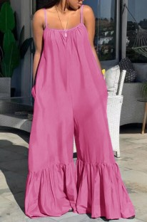 Summer Plus Size Casual Pink Strap Bell Jumpsuits