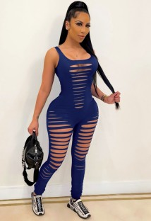 Summer Blue Sleeveless Sexy Ripped Bodycon Jumpsuit