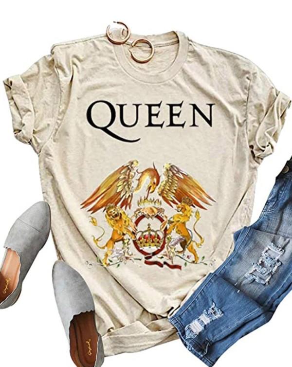 Camicia in cotone beige con scollo a O con stampa estiva e maniche corte