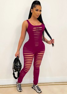 Summer Red Sleeveless Sexy Ripped Bodycon Jumpsuit